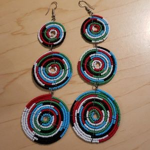 Beaded Circle Multi-color Earrings